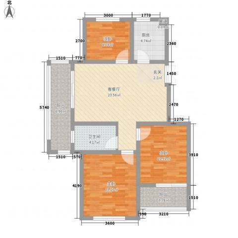嘉盛龙庭3室1厅1卫1厨90.00㎡户型图