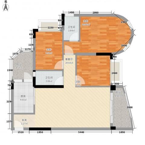 碧水湾3室1厅2卫1厨91.49㎡户型图