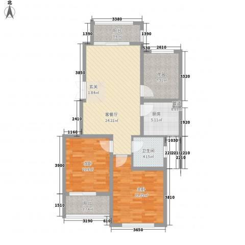 嘉盛龙庭2室1厅1卫1厨90.00㎡户型图