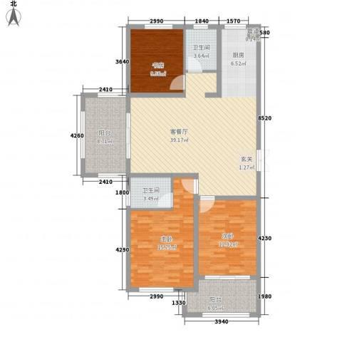 嘉盛龙庭3室1厅2卫0厨132.00㎡户型图