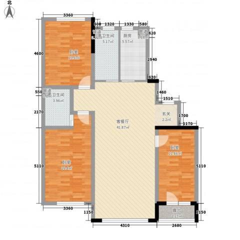 地铁名典小区1厅2卫1厨126.00㎡户型图