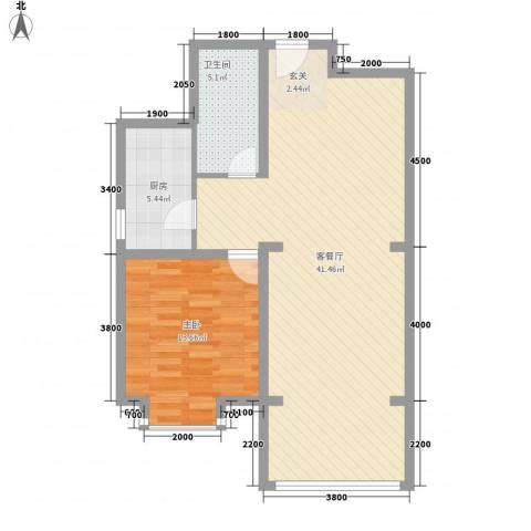 祺泰新居1室1厅1卫1厨86.00㎡户型图