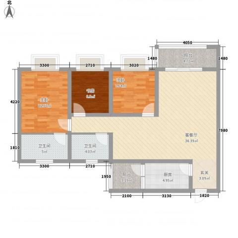 双语雅苑3室1厅2卫1厨123.00㎡户型图