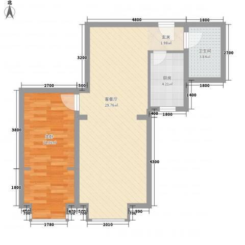 祺泰新居1室1厅1卫1厨71.00㎡户型图
