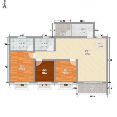 双语雅苑3室1厅2卫1厨118.00㎡户型图
