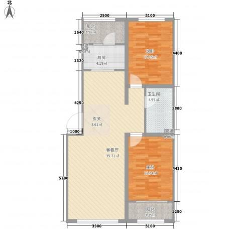 祺泰新居2室1厅1卫1厨76.71㎡户型图