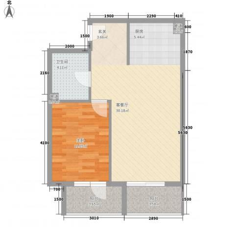 澳景蓝湾1室1厅1卫0厨63.00㎡户型图