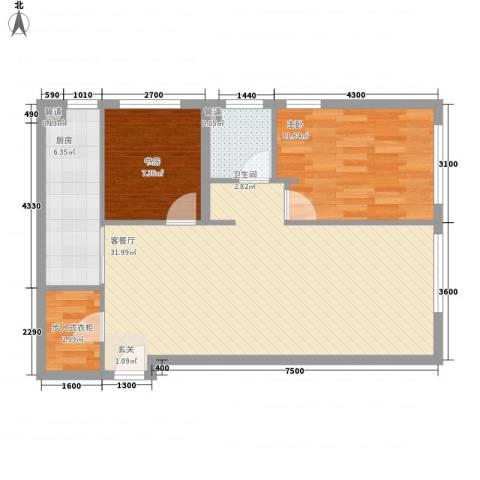 澳景蓝湾2室1厅1卫1厨63.34㎡户型图