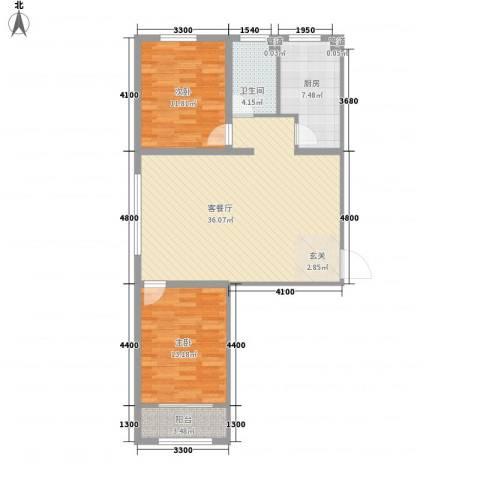 祺泰新居2室1厅1卫1厨76.26㎡户型图