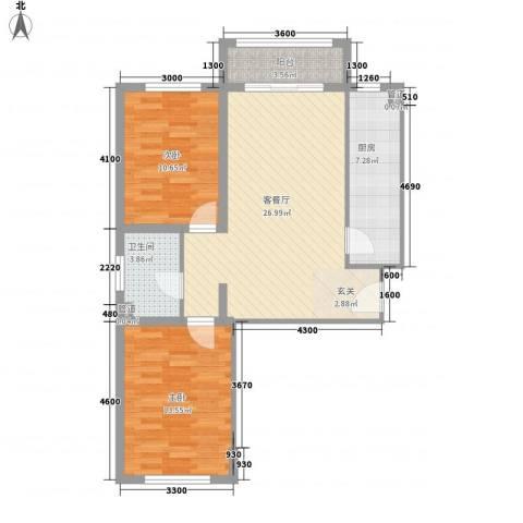 祺泰新居2室1厅1卫1厨66.01㎡户型图