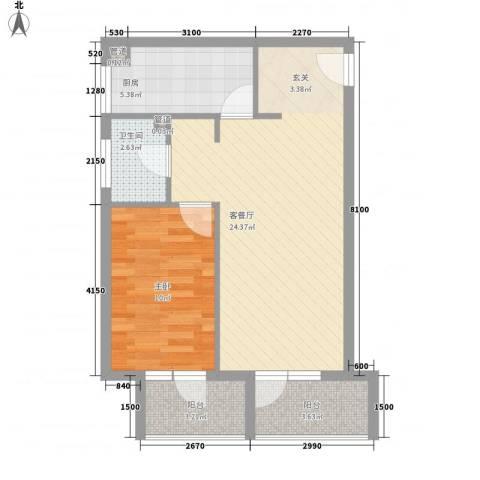 澳景蓝湾1室1厅1卫1厨49.38㎡户型图