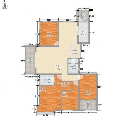 荣盛锦绣花苑4室1厅2卫1厨133.04㎡户型图
