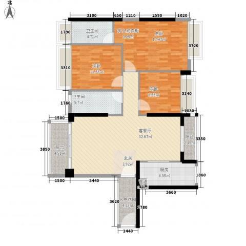 南沙创鸿汇3室1厅2卫1厨127.00㎡户型图