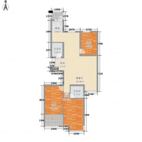 荣盛锦绣花苑3室1厅2卫0厨134.00㎡户型图
