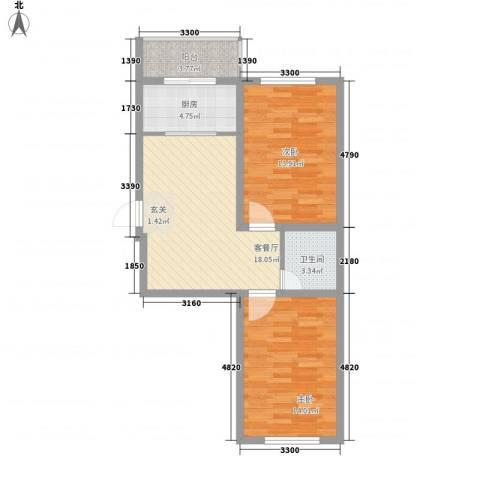 环北家园三期2室1厅1卫1厨78.00㎡户型图