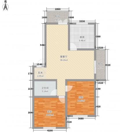 环北家园三期2室1厅1卫1厨112.00㎡户型图