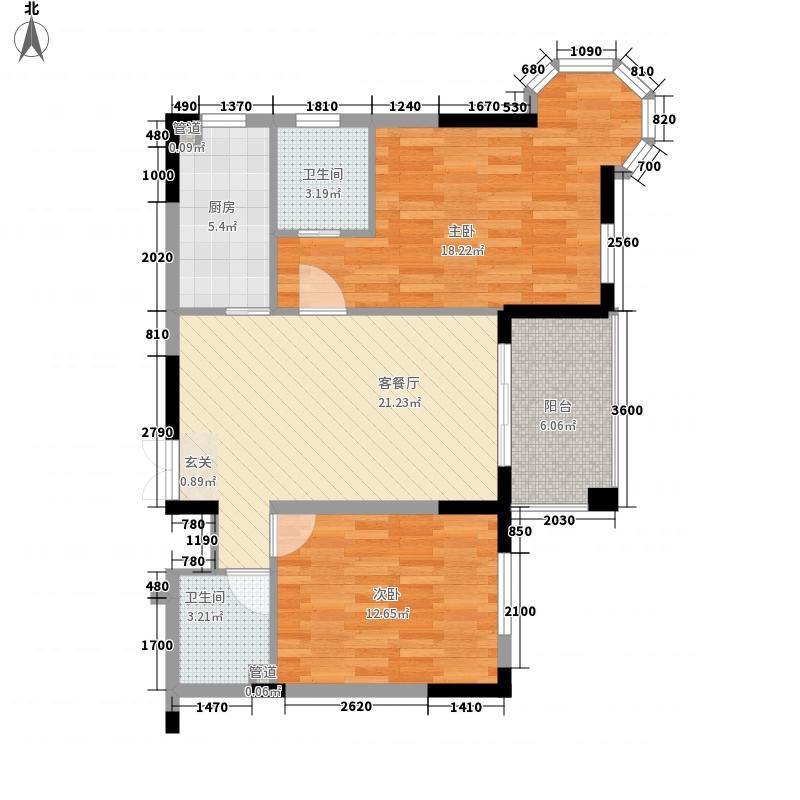 宏通・毕加索公寓84.22㎡一期1栋标准层G户型2室2厅2卫