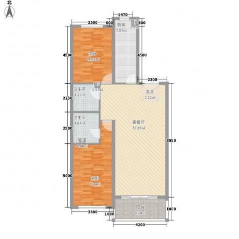 大唐天下江山2室1厅2卫1厨131.00㎡户型图