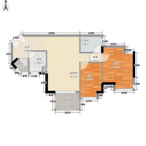 华凯豪庭2室0厅1卫1厨87.00㎡户型图
