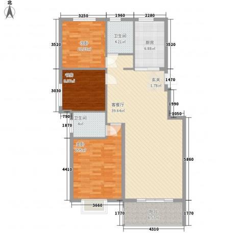 万科金域华府3室1厅2卫1厨133.00㎡户型图