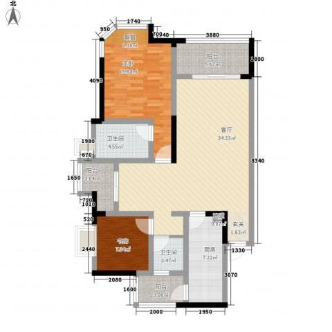 融创御锦2室1厅2卫1厨116.00㎡户型图