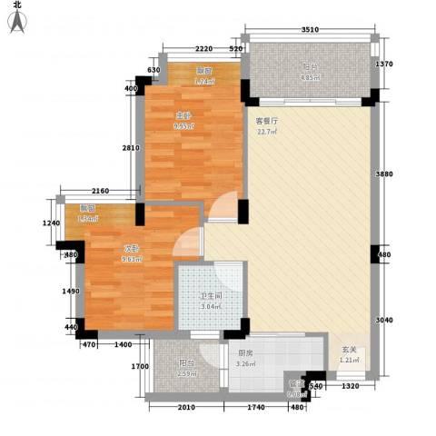 天保花园2室1厅1卫1厨81.00㎡户型图