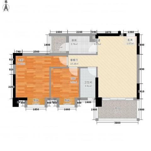 天保花园2室1厅1卫1厨82.00㎡户型图
