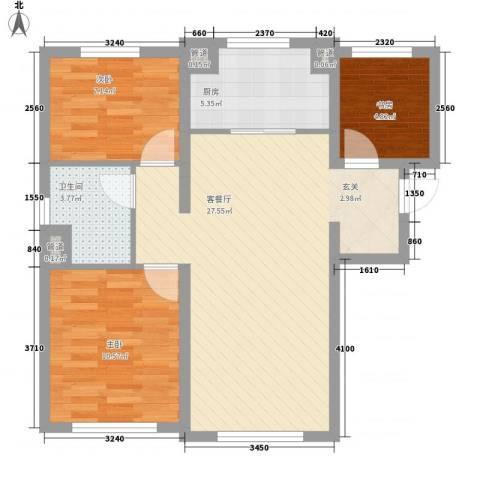 万科海港城3室1厅1卫1厨86.00㎡户型图