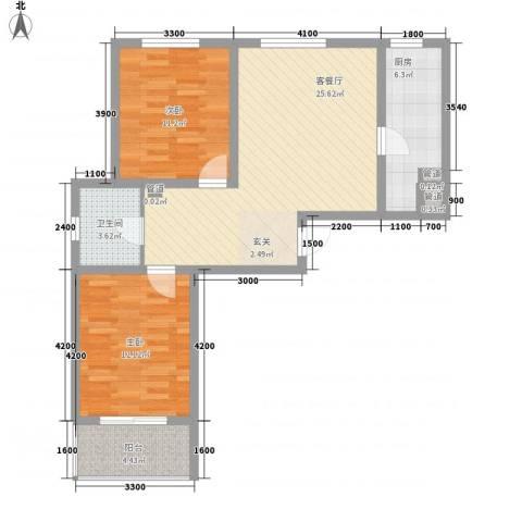 旭丰惬意空间2室1厅1卫1厨98.00㎡户型图