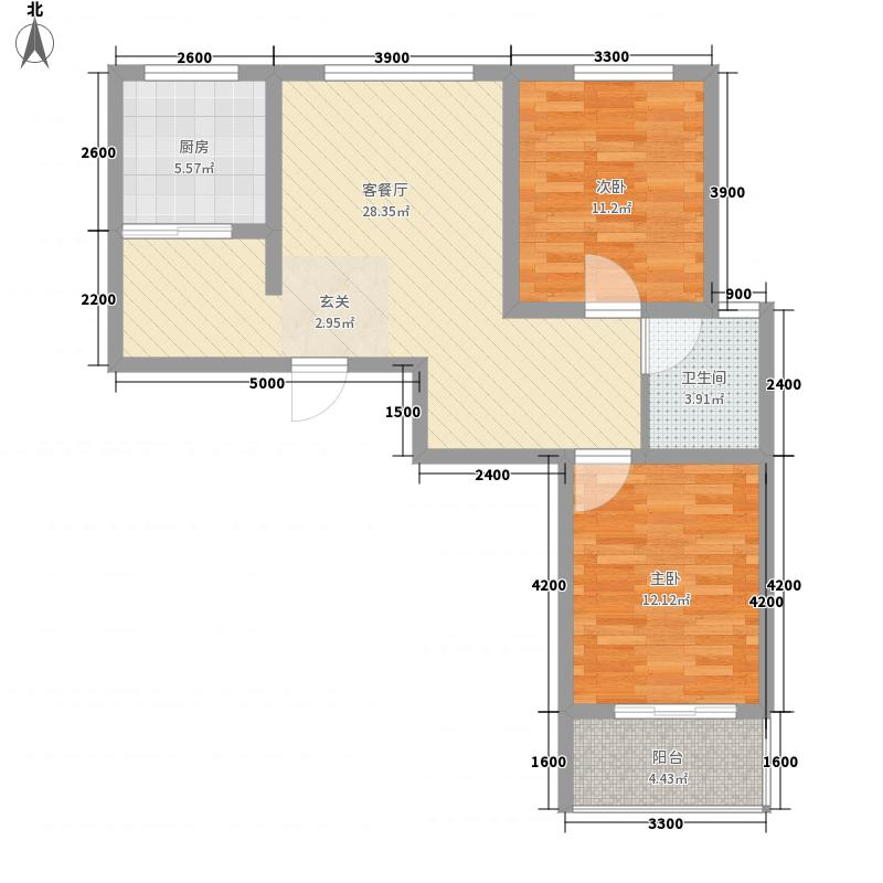 旭丰惬意空间100.64㎡尚城户型图A2户型2室2厅1卫1厨户型2室2厅1卫1厨