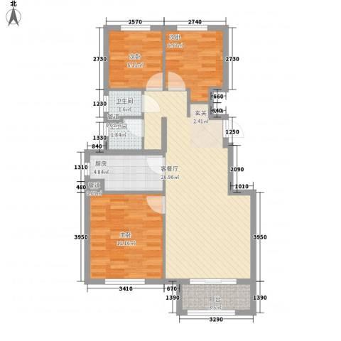 万科海港城3室1厅2卫1厨92.00㎡户型图