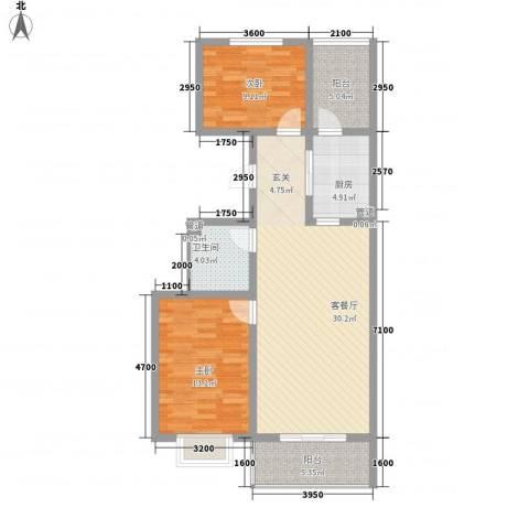 文景苑2室1厅1卫1厨99.00㎡户型图
