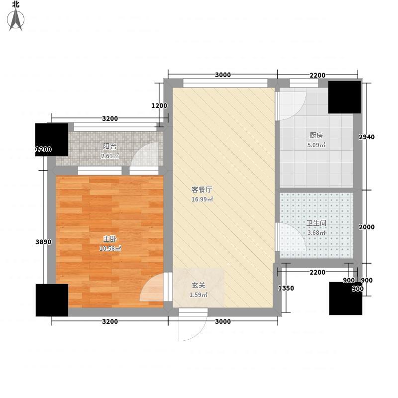 港汇广场61.77㎡港汇广场户型图3号楼D户型1室2厅1卫1厨户型1室2厅1卫1厨