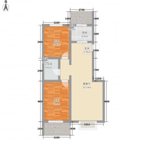 文景苑2室1厅1卫1厨98.00㎡户型图