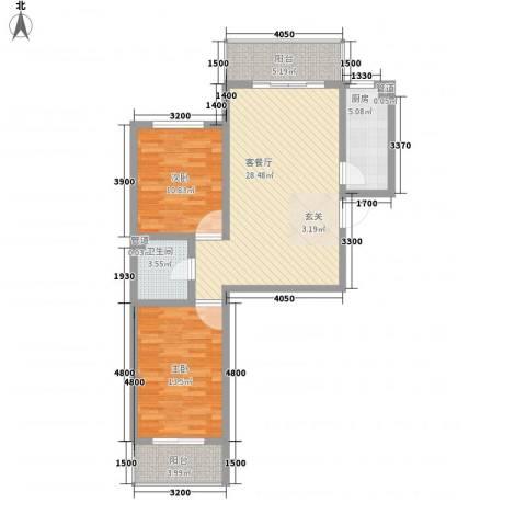 文景苑2室1厅1卫1厨100.00㎡户型图