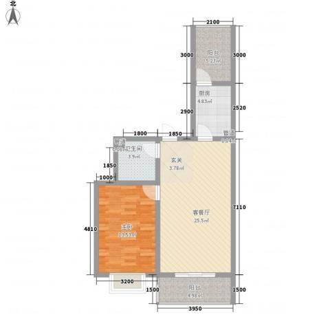 文景苑1室1厅1卫1厨79.00㎡户型图