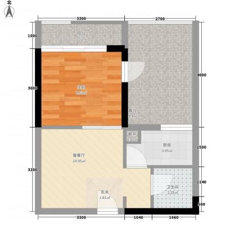 城市假日三期1室1厅1卫1厨54.00㎡户型图