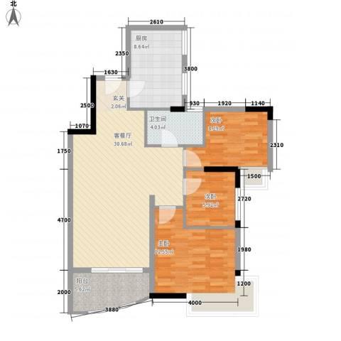 蔚蓝星湖3室1厅1卫1厨107.00㎡户型图