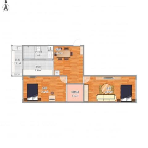 石油三角地2室1厅1卫1厨84.00㎡户型图