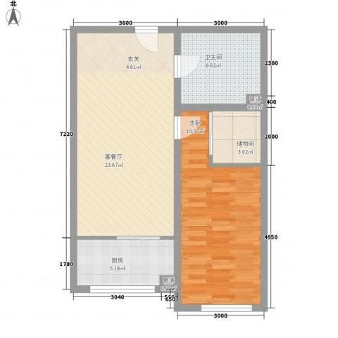 东方之珠龙腾苑1室1厅1卫1厨77.00㎡户型图