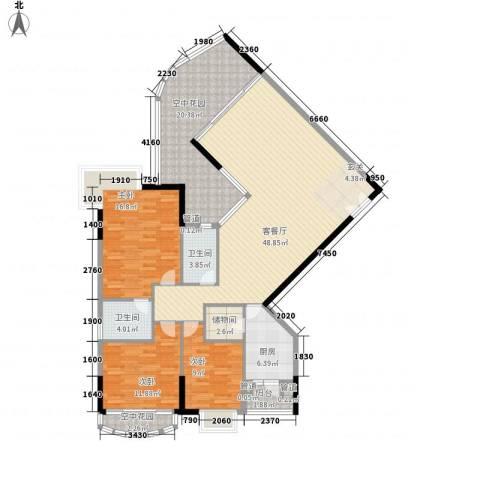 滨江明珠3室1厅2卫1厨180.00㎡户型图