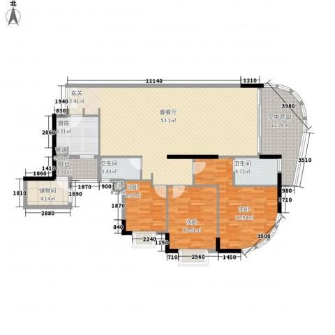 滨江明珠3室1厅2卫1厨176.00㎡户型图