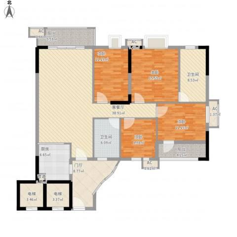 石竹山水园四期4室1厅2卫1厨191.00㎡户型图