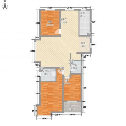 荣盛锦绣花苑3室1厅2卫1厨98.71㎡户型图