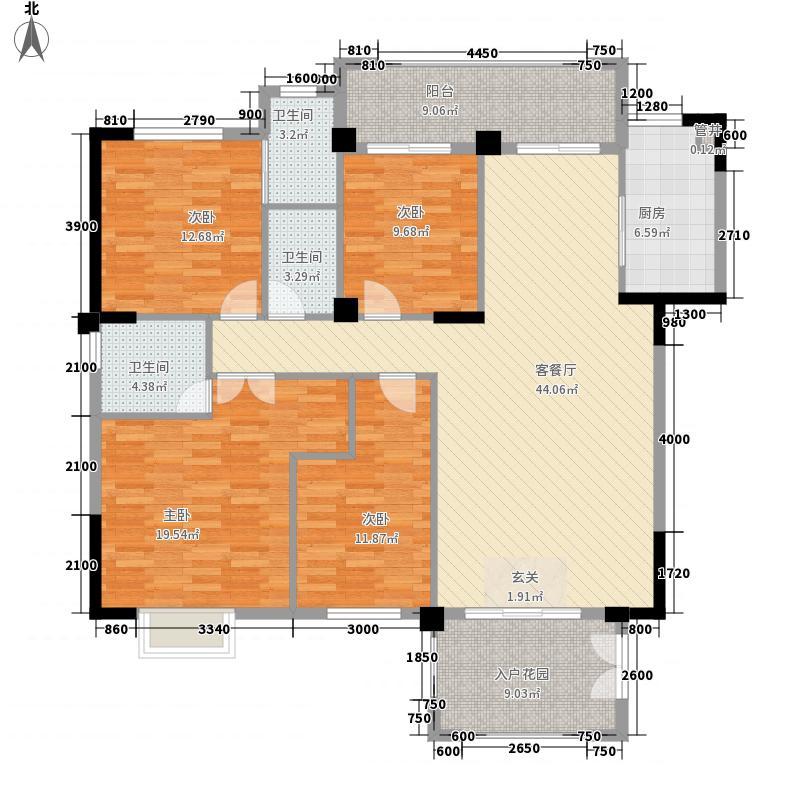 中瑞海西星城16.00㎡13#楼户型4室2厅3卫1厨