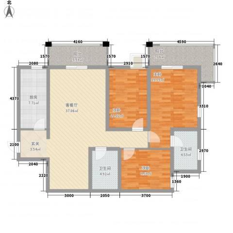 捷瑞公园首府3室1厅2卫1厨103.32㎡户型图