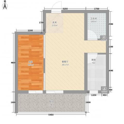 文景苑1室1厅1卫1厨60.00㎡户型图