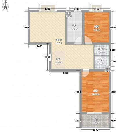 文景苑2室1厅1卫1厨94.00㎡户型图