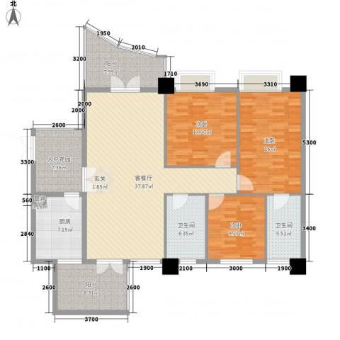 尚城・国际3室1厅2卫1厨166.00㎡户型图