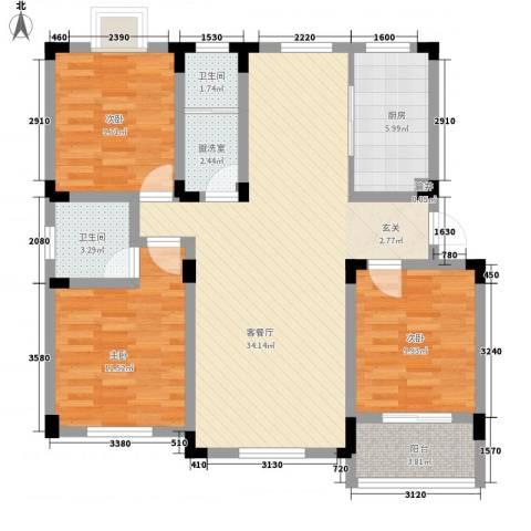 御水天成3室1厅2卫1厨120.00㎡户型图
